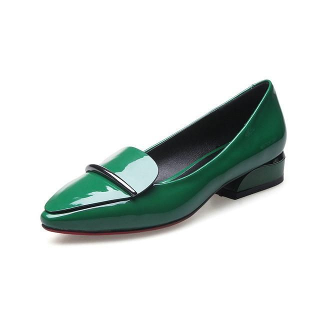 2017 Large Size Size 9 Metal Green Black Women Dress Shoes 34 Slip On Chic  Pointed Toe Ladies Party Low Heel Patent Leather 6bc7b329d8dd
