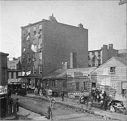 Five Points, circa 1880s (source: NYPL). According to maps, this was the north east corner of Orange and Anthony Sts (today's Baxter and Worth Sts).