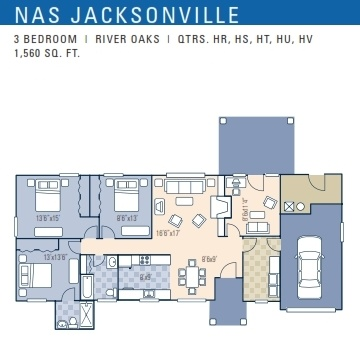 Nas Jacksonville River Oaks Neighborhood 3 Bedroom Floor Plan Other 3br Plans