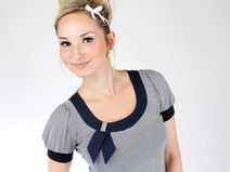 """MEKO """"Hotty"""" Shirt Damen Blau Streifen Schleife"""