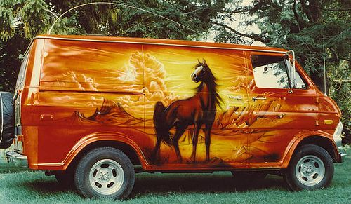 Custom vans, with shag carpet interior.