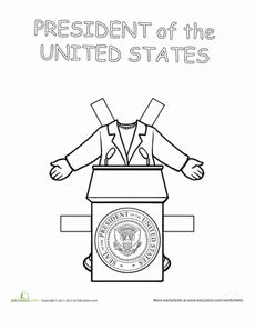 Cute president of the USA printable paperdoll template. Add your child's face!