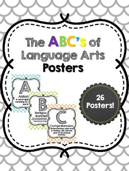 Decorate your classroom with these colorful ABC's of Language Arts Posters that…