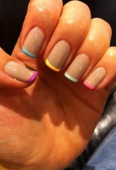 Colorful French Manicure, very simple colorful touch but also a great background to add black pics to