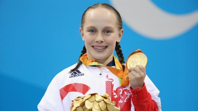 Ellie Robinson won another gold medal for Britain and set a Paralympic record in the S6 50m butterfly final. The fifteen-year-old school girl from Northampton was inspired to compete by watching her now-Great Britain team-mate Ellie Simmonds, among others, at London 2012.