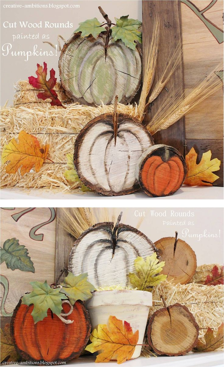 Wood rounds (tree slices) painted to look like pumpkins! Project by Kendra from…