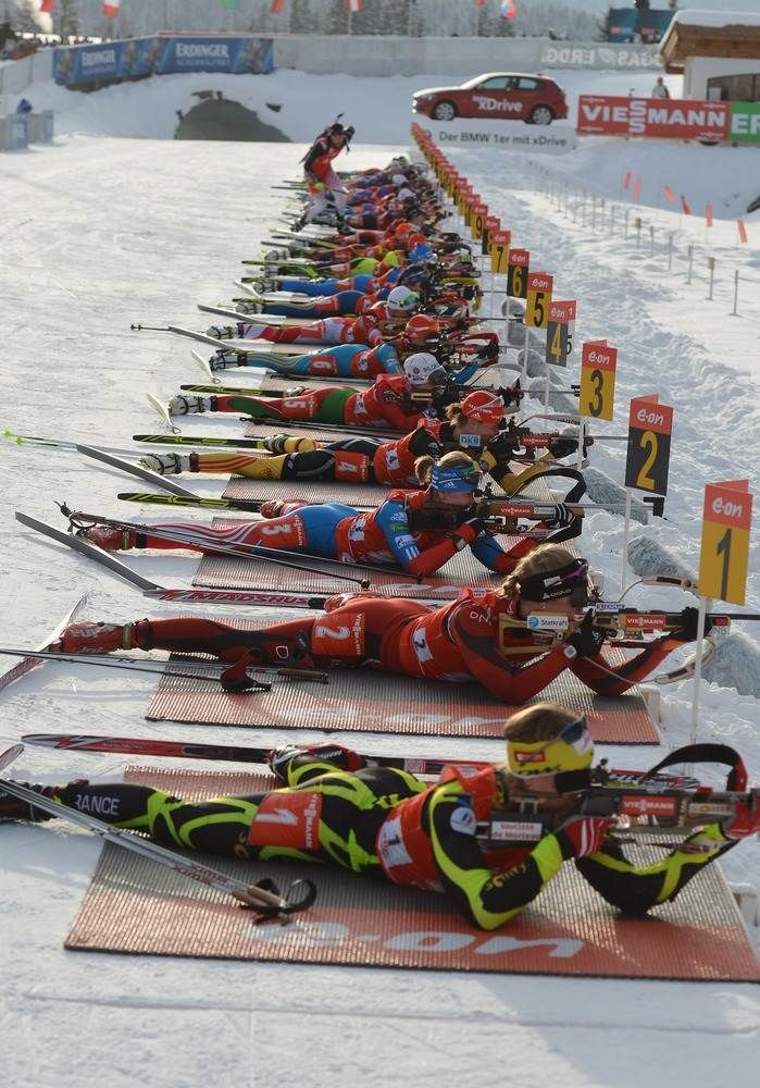 Women's 4x6 Biathlon World Cup in Hochfilzen, Austria.