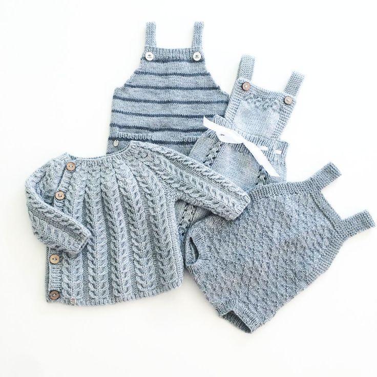 «Grå babystrikk #pocketplaysuit #rumper #babydrakt #snoningstrøje #ministrikk #strikktilsmårollinger #knit #instaknit #babyknit #strikke #strikkemamma…»