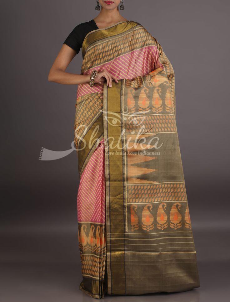 Anita Pretty Pink Contrast Designer Border Pallu Pure Patola Silk Saree