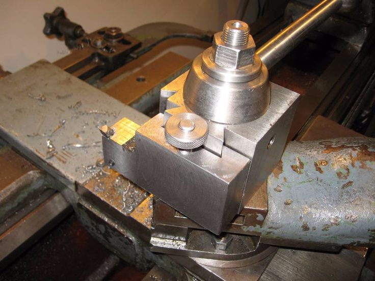 Tangential Tool Holder by awake -- Homemade tangential tool holder constructed from steel bar stock, threaded rod, and a set screw. http://www.homemadetools.net/homemade-tangential-tool-holder-7