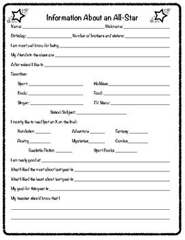 Created to use on the first day of school to find out student interests and information.  Use information to help make book choices and plan lesson...