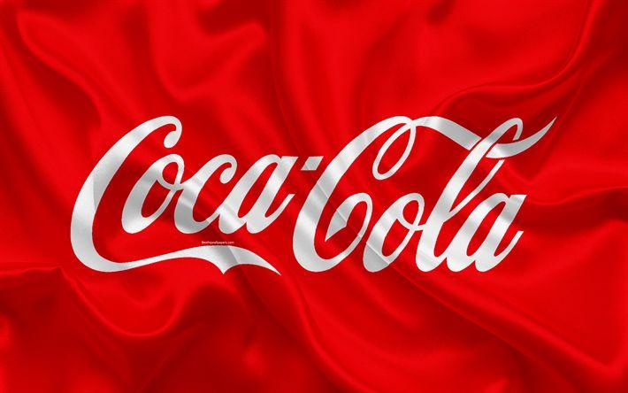 Download imagens A Coca-Cola, 4k, bebidas populares, de seda vermelha textura