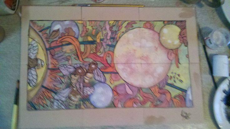 Dibujo de John Dyer Baizley  Decoracion: pigmentos bajo cubierta falta cubierta vitrea.