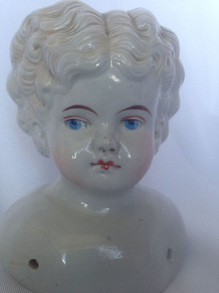 Antique Curly Head China Doll With Exposed Ears Circa 1880s