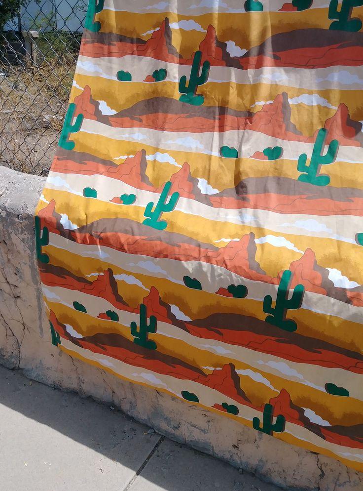 Vintage 1970s Sheet Desert Landscape Southwestern Cactus Hippie Endless Summer Twin Flat Sheet by bycinbyhand on Etsy https://www.etsy.com/uk/listing/566659921/vintage-1970s-sheet-desert-landscape