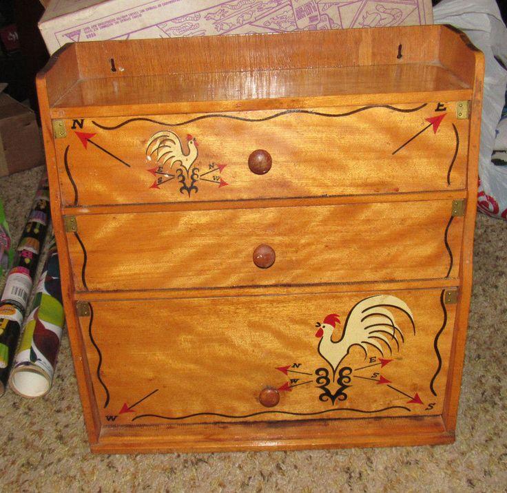 Vintage Wood Paper Towel Wall Mount Kitchen Plastic Wrap Foil Red Bird Rooster in Home & Garden, Kitchen, Dining & Bar, Kitchen Storage & Organization | eBay