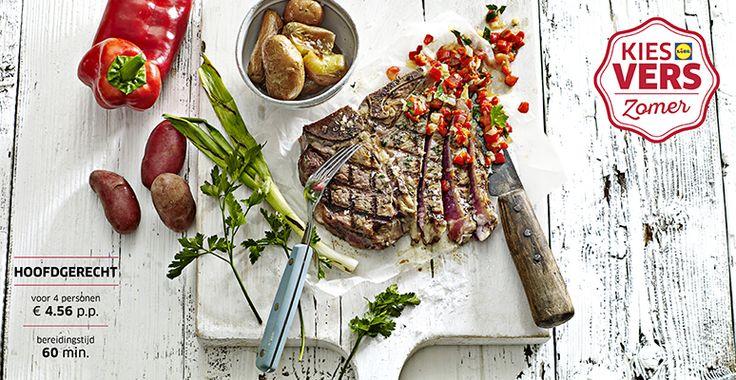 Recept voor T-bone steak met gegrilde lente-ui en aardappeltjes uit de oven #Lidl #Zomer