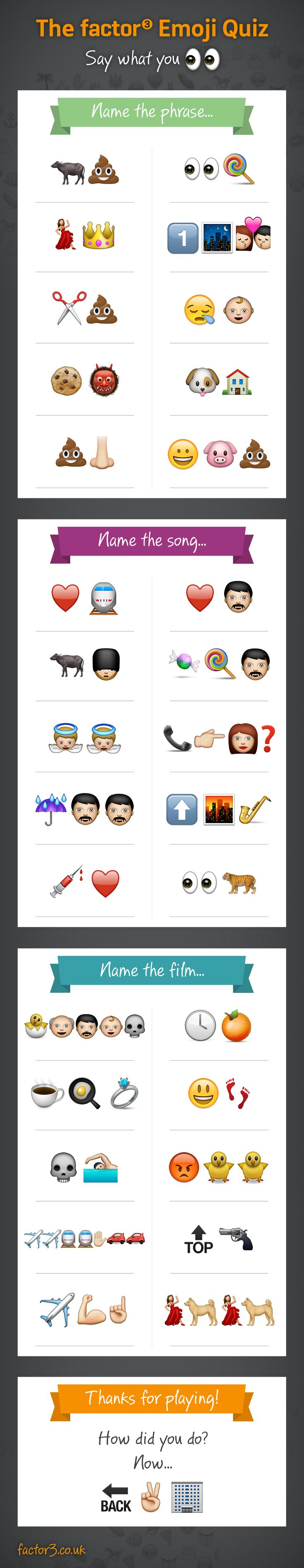 An emoji combinations quiz from Factor 3. Download the answers here: http://www.factor3.co.uk/blog/the-factor-3-emoji-combinations-quiz/