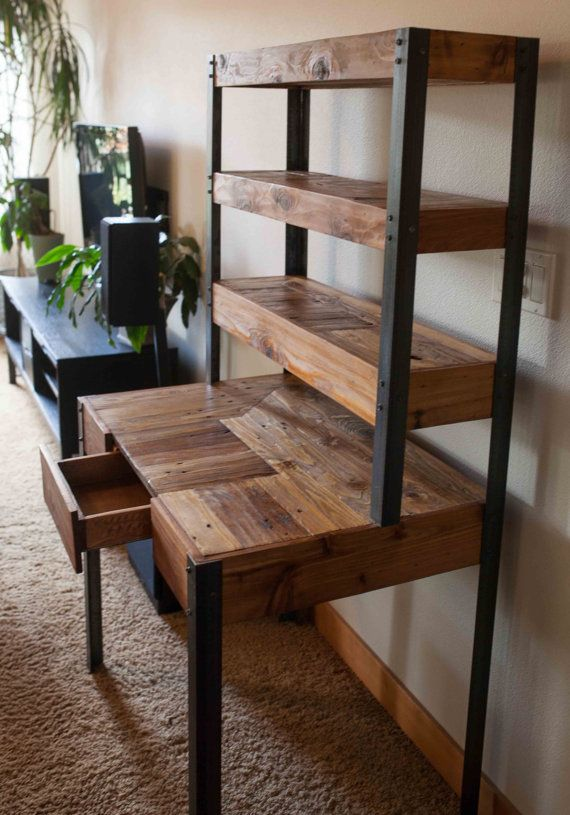 Multi Tiered Pallet Wood Desk With Drawer And Shelves T