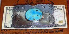 1920-30's Navajo Coin Silver Ingot Turquoise Belt Buckle 3.69 Oz. HUGE WOW!