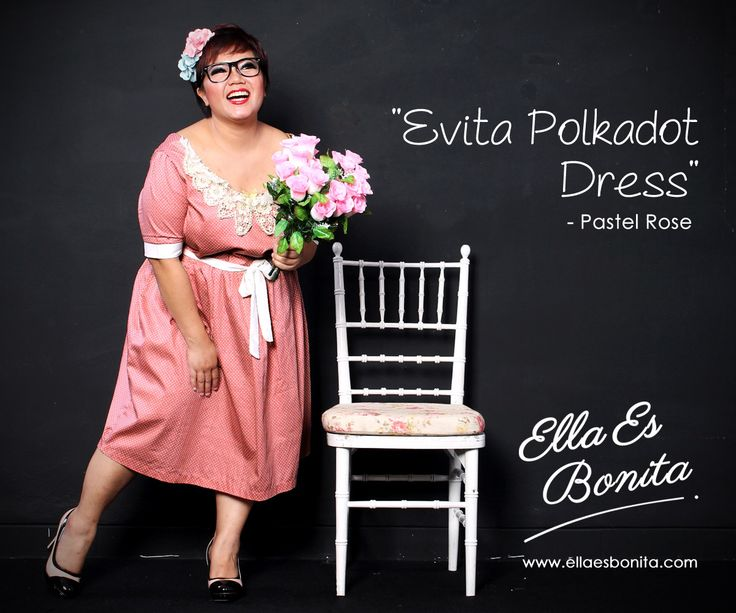 Evita Polkadot Dress - This vintage dress features high quality cotton which specially designed for sophisticated curvy women originally made by Indonesian Designer & Local Brand: Ella Es Bonita. Available at www.ellaesbonita.com