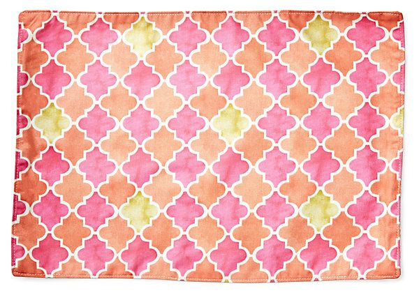 One Kings Lane - Cocktails on the Shore - S/4 Ikat Place Mats, Pink/Orange