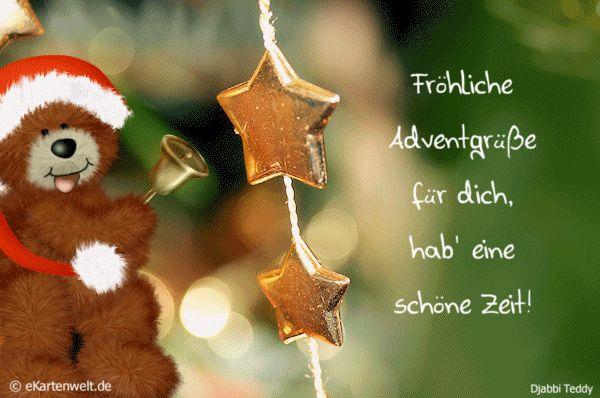 Fröhliche Adventgrüße für dich, hab' eine schöne Zeit! Animierte eCard mit Djabbi Teddy im Advent
