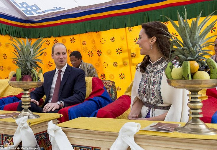 Kate and William watch in comfort as the Bhutanese showed off their skills at archery and traditional games