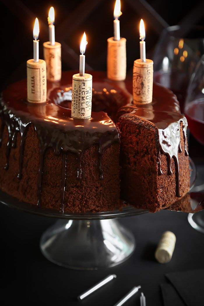 Chocolate Red Wine Chiffon Cake with chocolate ganache drip.