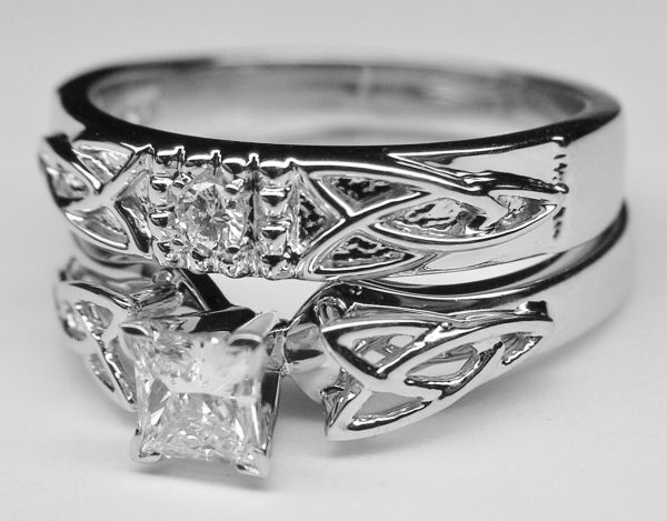 princess diamond celtic bridal set engagement ring matching wedding ring - Wiccan Wedding Rings