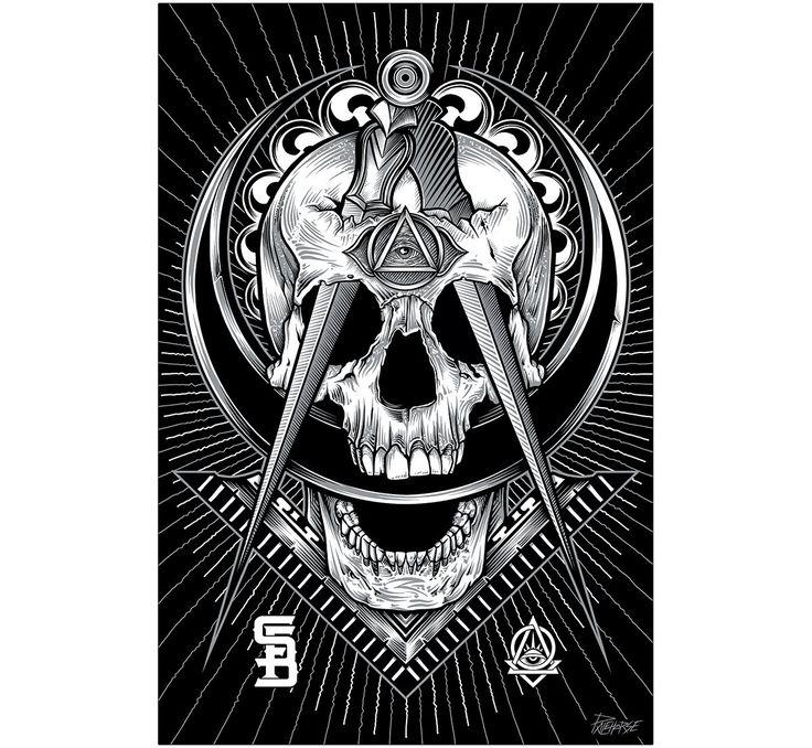 Not-So-Secret Society By Palehorse Design Mason Tattoo Fine Art Print