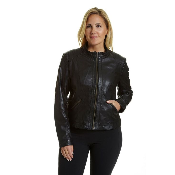 Plus Size Excelled Leather Motorcycle Jacket, Women's, Size: 2XL, Black