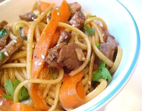 I am always looking for recipes to use leftover pork tenderloin in. Fried rice usually comes up, but I felt like a noodle dish and this fit the bill perfectly.</p><p>I made my favorite recipe for pork tenderloin and used the leftovers for this fabulous sesame noodle dish,