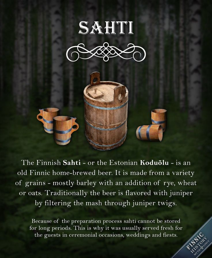 The Finnish Sahti - or the Estonian Koduõlu or Taluõlu - is an old Finnic home-brewed beer. It is made from a variety of grains - mostly barley with an addition of rye, wheat or oats. Tra...