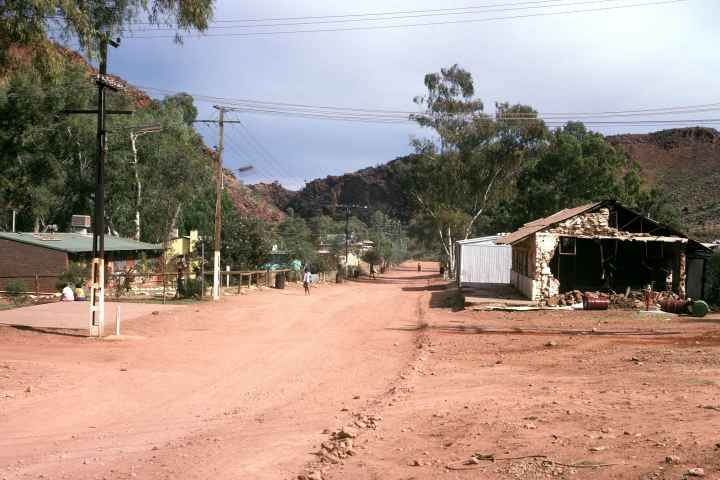 The main road in Areyonga, a small community, 90 km by road to the south west of Ntaria (Hermannsburg), Central Australia.