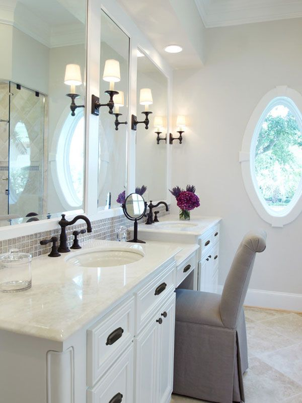 Three Mirrors | Bathroom Vanity | Purple Hydrangea | Porthole Window | Boutique Hotel | Home Design | Bathroom
