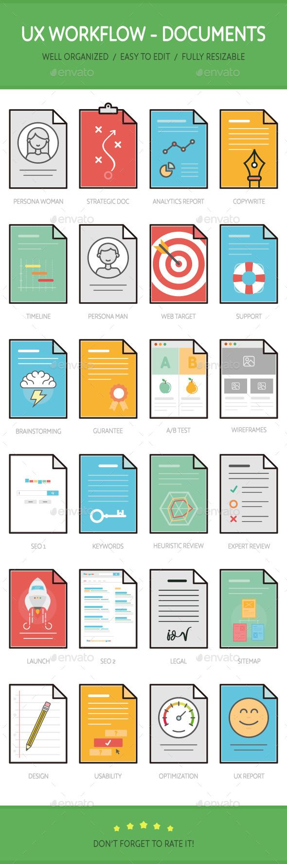 UX Workflow - Documents — Vector EPS #optimization #ab • Available here → https://graphicriver.net/item/ux-workflow-documents/11990812?ref=pxcr