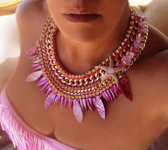 pink bohemian fully handmade statment necklace by GoGosJouls