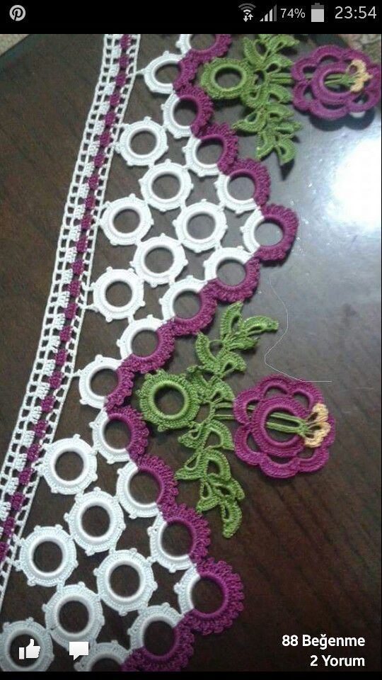 Turkish crochet lace.  Havlu oyasi #lace #crochet