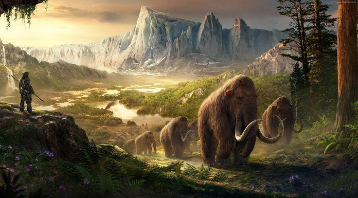 Fantasy, Epoka, Lodowcowa, Góry, Las, Mamuty, Człowiek
