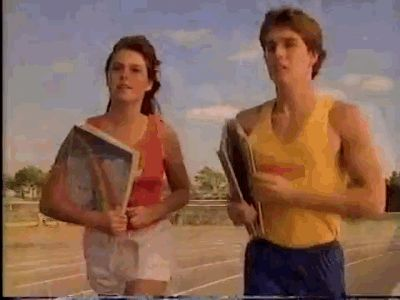 New trending GIF on Giphy. 80s retro 1980s running book reading. Follow Me CooliPhone6Case on Twitter Facebook Google Instagram LinkedIn Blogger Tumblr Youtube