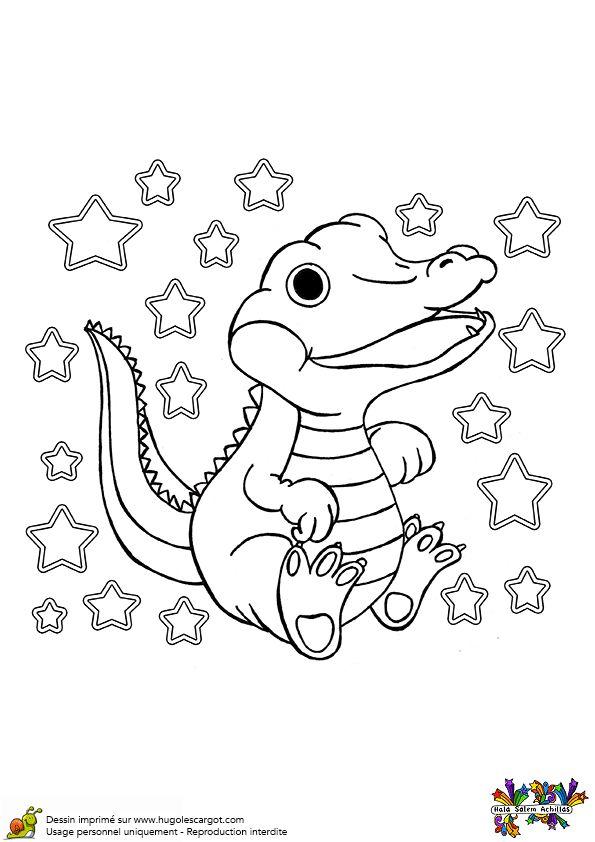 Coloriage De Crocodile A Colorier.Coloriage D Un Bebe Crocodile Tout Content Qui Remue Sa Queue