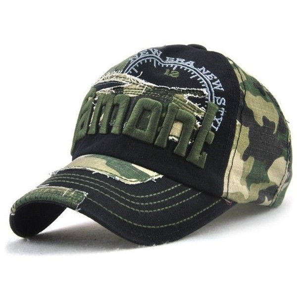 Camouflage Letters Embroidery Spliced Baseball Hat ($6.95) ❤ liked on Polyvore featuring men's fashion, men's accessories, men's hats and mens camo hats
