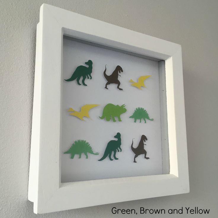 "Frame dimensions - 6""x6"" (15.2cm x 15.2cm)Colours – * Green, Brown and Yellow - CL5, CL8, CL22, CL23, PC4, CL9Choose this colour scheme or something in your own choice of colours for the same price. Add name or details personalisation for no extra cost. Intricate handmade dinosaur framed art. Every dinosaur is cut and raised to create a unique 3D effect.An ideal personalised gift for a child. Great for a birthday or to compliment a child's bedroom..."