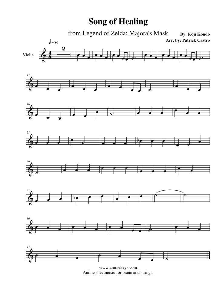 Gallery For u0026gt; Sheet Music Violin Zelda