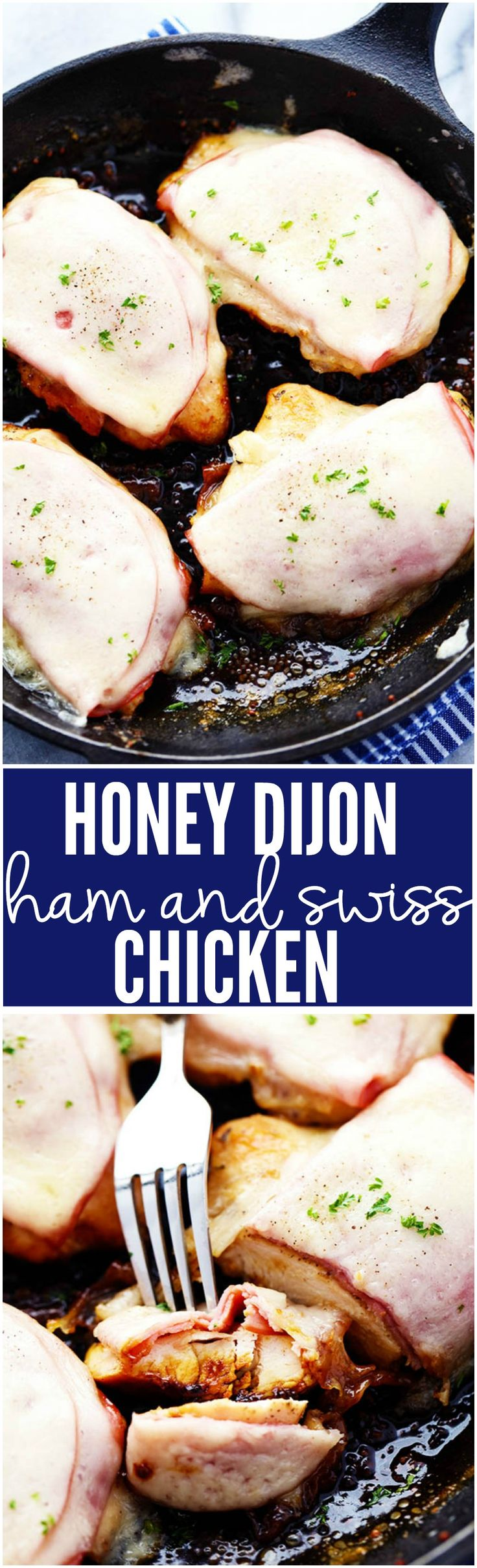 Honey Dijon Ham and Swiss Chicken is a quick and easy 30 minute meal! It is coated in a delicious honey dijon sauce and topped with ham and melty swiss cheese!
