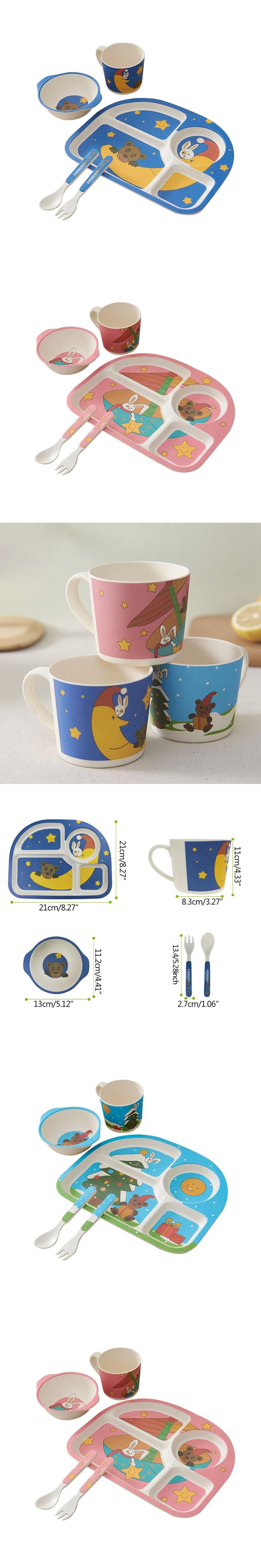 Best Selling Baby Feeding Dishes Kids Tableware Animal Printed Divided Plate Bowl Cup Cutlery Set Children Food Container