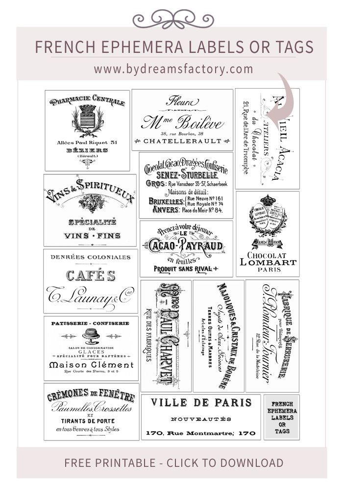 French Ephemera Labels or Tags - A lovely French collection of 13 old ads that can be used as labels or tags
