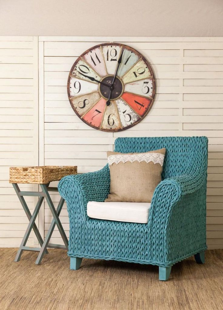 painted rattan arm chair
