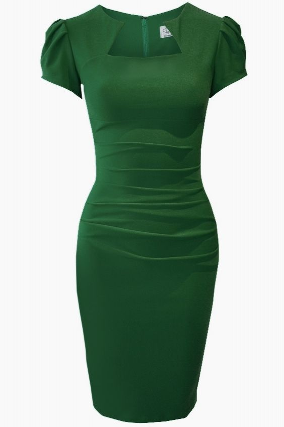 OMG! I am in love with everything about this! dv-alexandra Super flattering green dress cut from Bi-stretch with curve-contouring style has flattering pleats across the tummy to create a flawless fit. Wear it anytime. £99